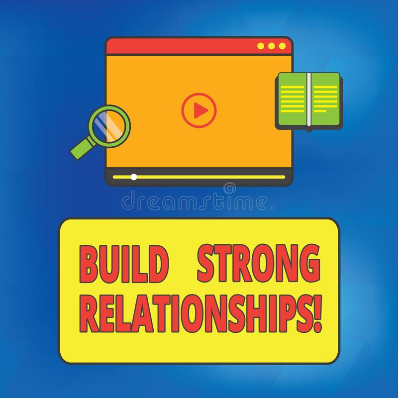 Writing note showing Build Strong Relationships. Business photo showcasing initiate good working relationships with others Tablet stock photos