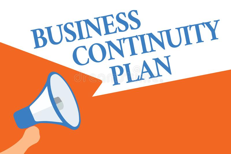 Writing note showing Business Continuity Plan. Business photo showcasing creating systems prevention deal potential. Threats Megaphone loudspeaker speech royalty free illustration