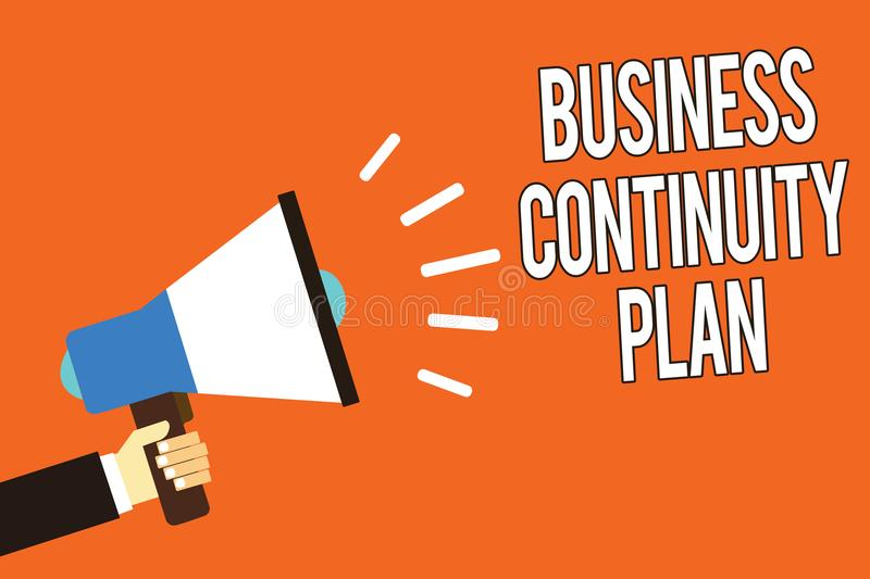 Writing note showing Business Continuity Plan. Business photo showcasing creating systems prevention deal potential threats Man ho. Lding megaphone loudspeaker stock illustration