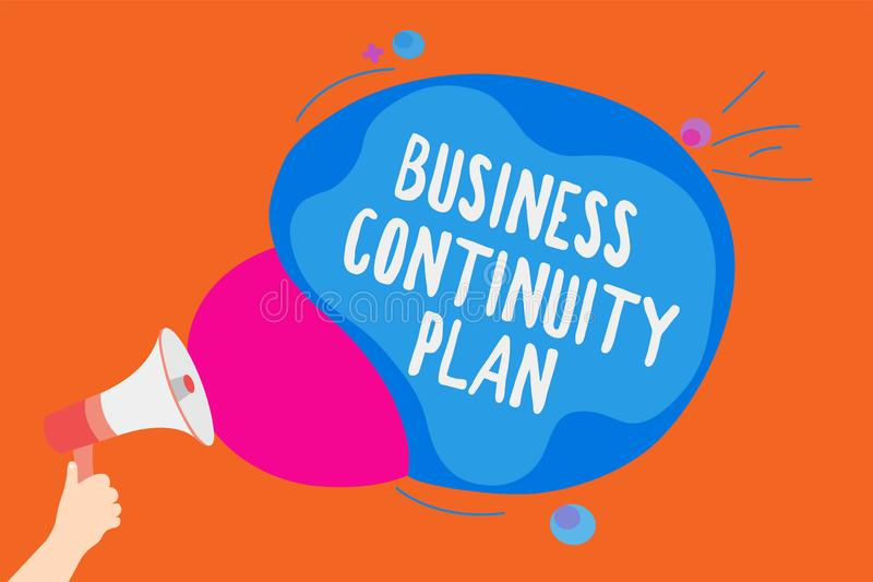 Writing note showing Business Continuity Plan. Business photo showcasing creating systems prevention deal potential. Threats Man holding Megaphone loudspeaker vector illustration