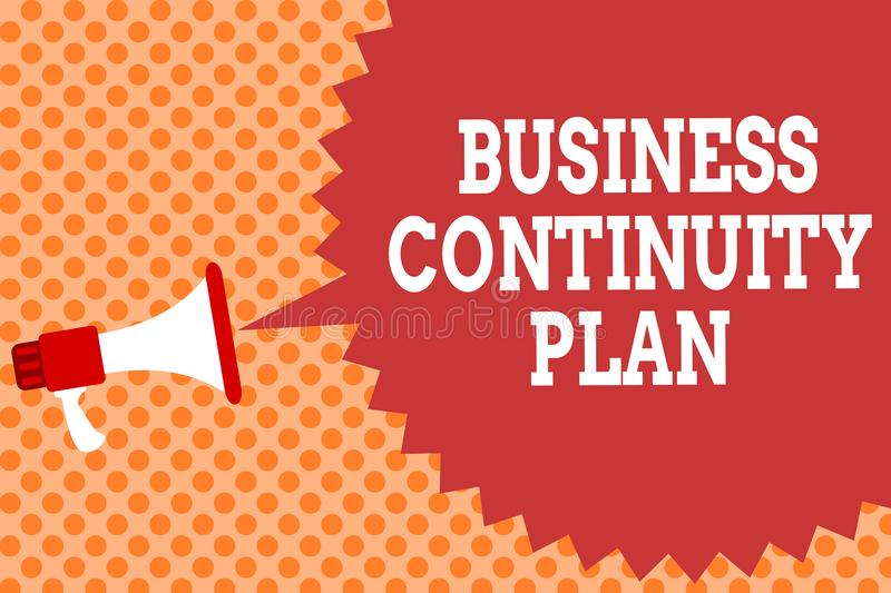 Writing note showing Business Continuity Plan. Business photo showcasing creating systems prevention deal potential threats Megaph. One loudspeaker speech bubble vector illustration