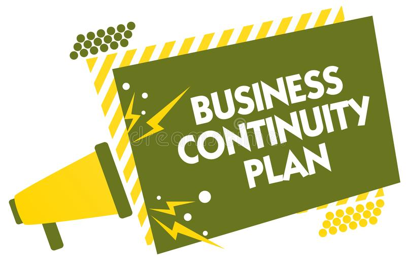 Writing note showing Business Continuity Plan. Business photo showcasing creating systems prevention deal potential threats Megaph. One loudspeaker yellow stock illustration