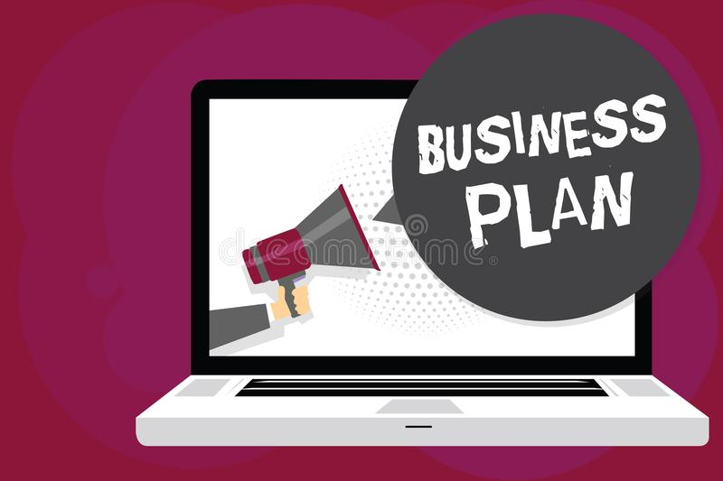 Writing note showing Business Plan. Business photo showcasing Structural Strategy Goals and Objectives Financial Projections Man h royalty free illustration