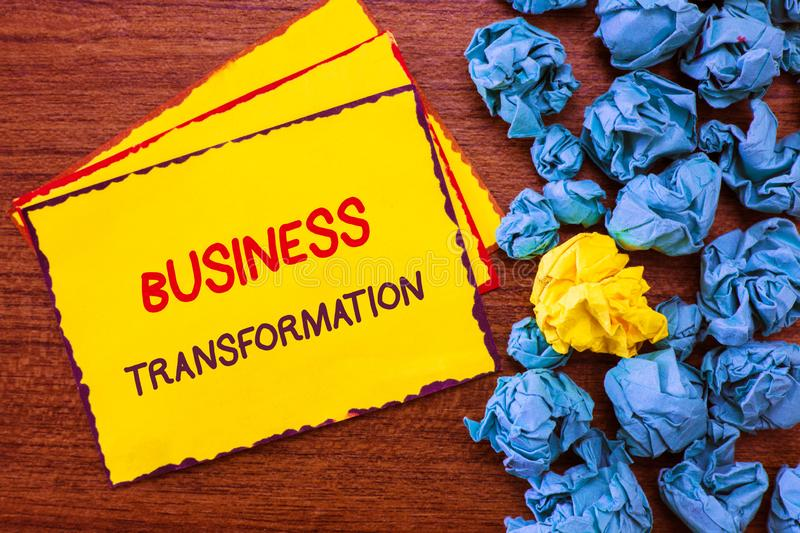 Writing note showing Business Transformation. Business photo showcasing Align their Trade models with Strategy Improvement.  royalty free stock images