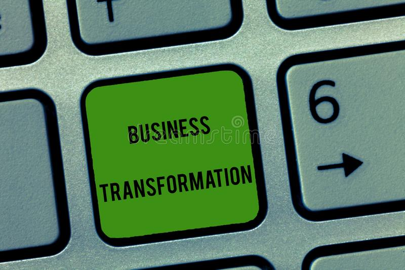 Writing note showing Business Transformation. Business photo showcasing Align their Trade models with Strategy Improvement.  royalty free stock photography