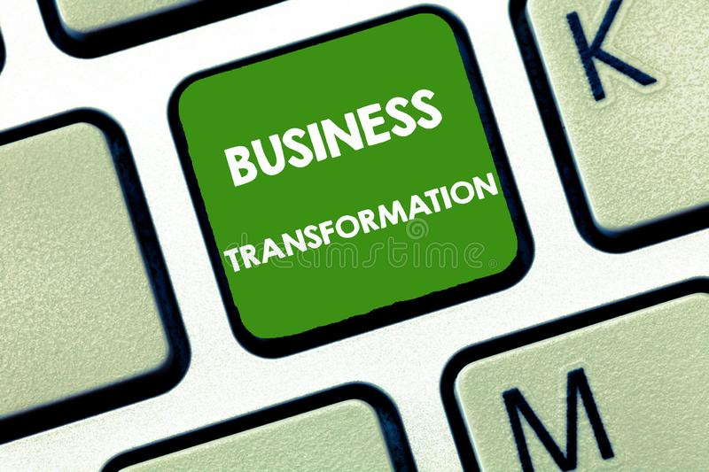 Writing note showing Business Transformation. Business photo showcasing Align their Trade models with Strategy. Improvement royalty free stock images