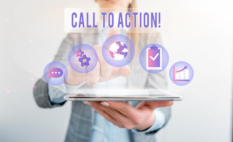 Writing note showing Call To Action. Business photo showcasing exhortation do something in order achieve aim with. Writing note showing Call To Action. Business royalty free stock image