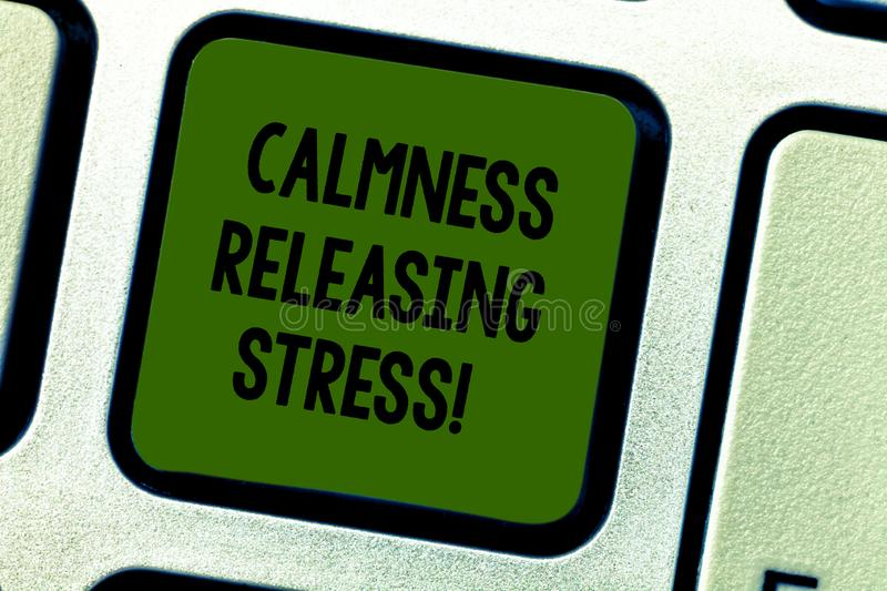 Writing note showing Calmness Releasing Stress. Business photo showcasing analysisage stress and lead happier healthier royalty free stock photos