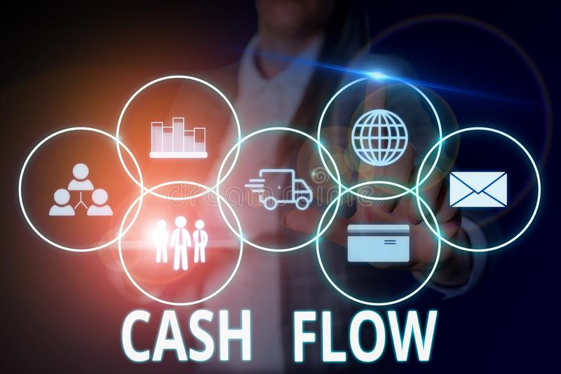 Writing note showing Cash Flow. Business photo showcasing Movement of the money in and out affecting the liquidity Woman. Writing note showing Cash Flow royalty free stock image