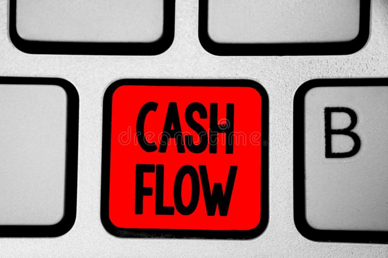 Writing note showing Cash Flow. Business photo showcasing Movement of the money in and out affecting the liquidity Keyboard red In. Tention create computer stock photography