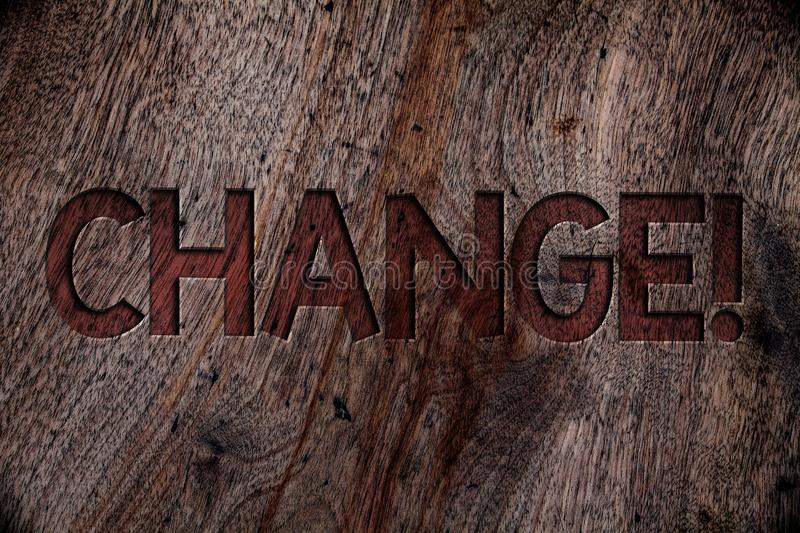 Writing note showing Change Call. Business photo showcasing Alteration Adjustment Diversion Revision Transition Modification Wood. En background vintage wood royalty free stock images