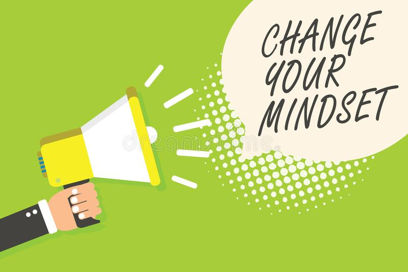 Writing note showing Change Your Mindset. Business photo showcasing replace your beliefs way of thinking mental path Speaker annou. Ncement alarming signal stock illustration