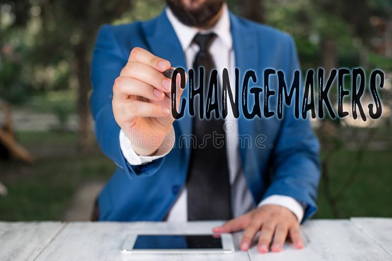 Writing note showing Changemakers. Business photo showcasing Young Turk Influencers Acitivists Urbanization Fashion Gen. Writing note showing Changemakers royalty free stock images