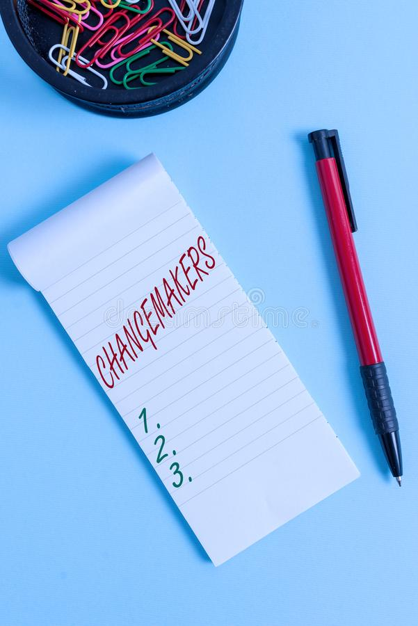 Writing note showing Changemakers. Business photo showcasing Young Turk Influencers Acitivists Urbanization Fashion Gen. Writing note showing Changemakers royalty free stock image