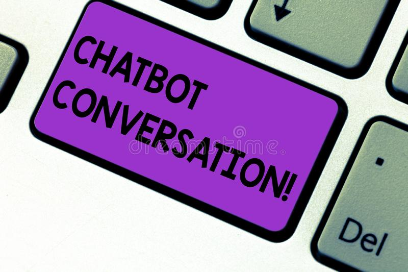 Writing note showing Chatbot Conversation. Business photo showcasing Chatting with virtual assistant artificial. Intelligence Keyboard key Intention to create royalty free stock image