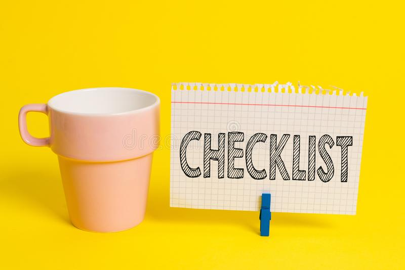 Writing note showing Checklist. Business photo showcasing List down of the detailed activity as guide of doing something. Writing note showing Checklist stock image