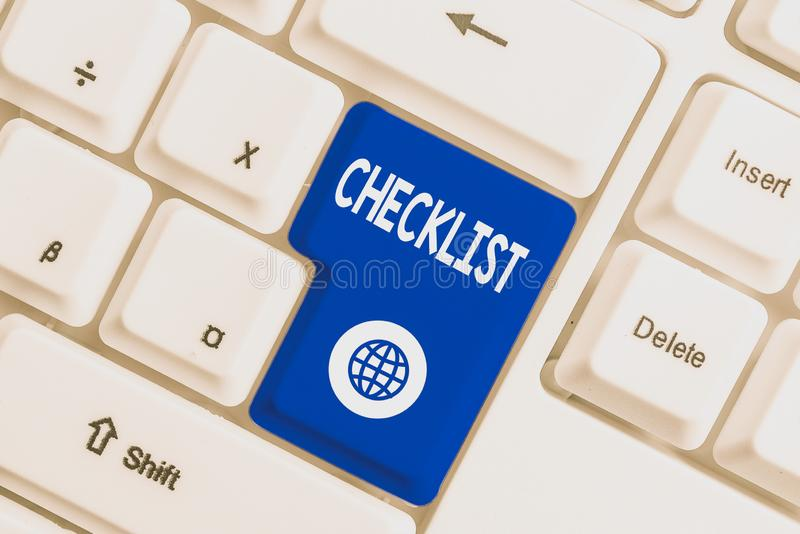 Writing note showing Checklist. Business photo showcasing List down of the detailed activity as guide of doing something. Writing note showing Checklist royalty free stock photography