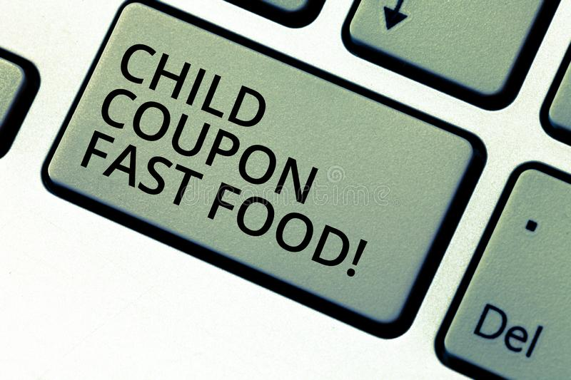 Writing note showing Child Coupon Fast Food. Business photo showcasing Ticket discount savings junk meals for kids stock photo