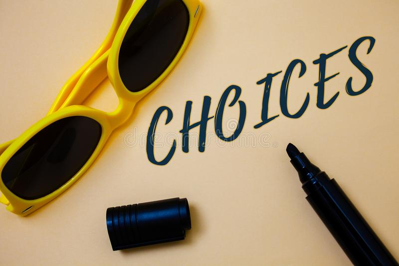Writing note showing Choices. Business photo showcasing Preference Discretion Inclination Distinguish Options Selection Ideas mes. Sages beige background black royalty free stock photography