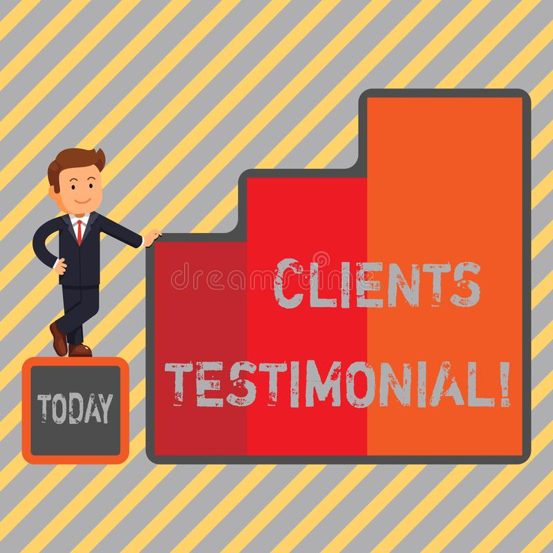 Writing note showing Clients Testimonial. Business photo showcasing Customers Personal Experiences Reviews Opinions. Feedback stock illustration