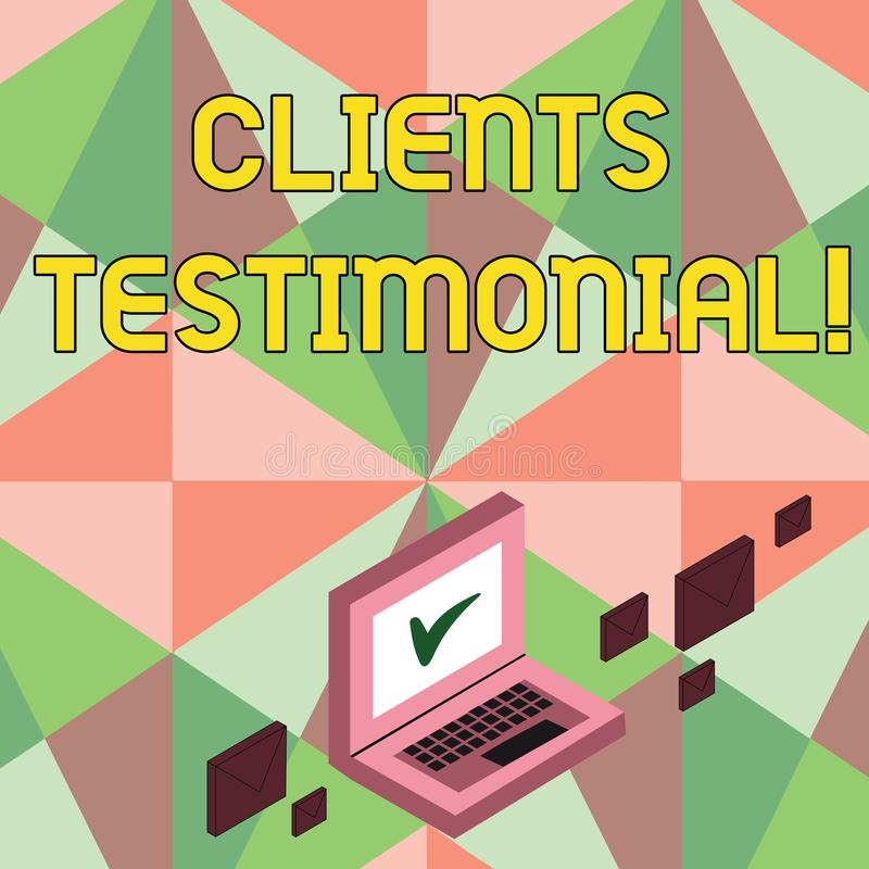 Writing note showing Clients Testimonial. Business photo showcasing Customers Personal Experiences Reviews Opinions. Feedback vector illustration