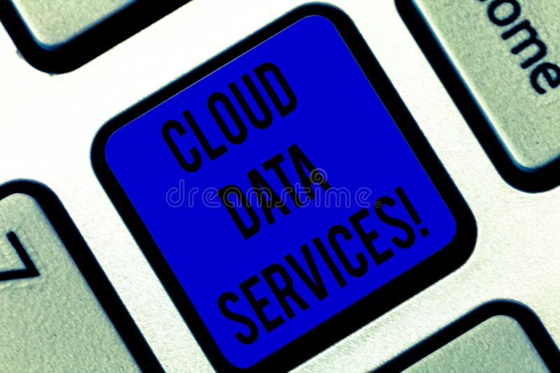 Writing note showing Cloud Data Services. Business photo showcasing enables data access on deanalysisd users regardless. Location Keyboard key Intention to royalty free stock images