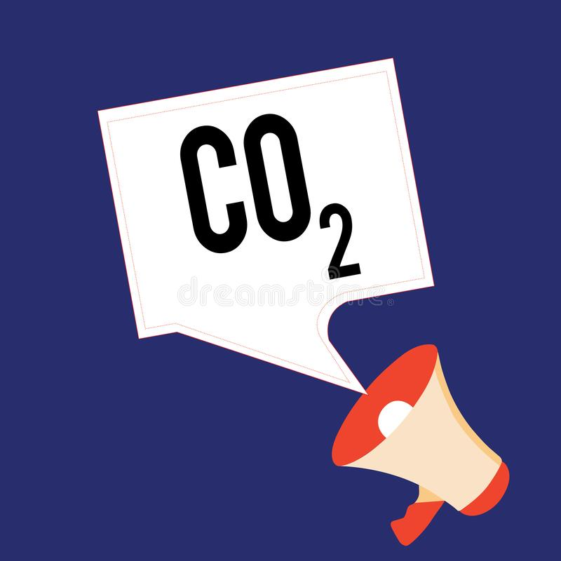 Writing note showing Co2. Business photo showcasing Noncombustible greenhouse gas that contributes to global warming.  vector illustration