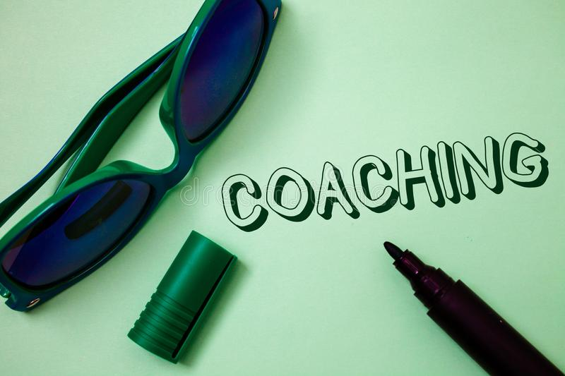 Writing note showing Coaching. Business photo showcasing Prepare Enlightened Cultivate Sharpening Encourage Strenghten Ideas mess. Ages white background open stock photography