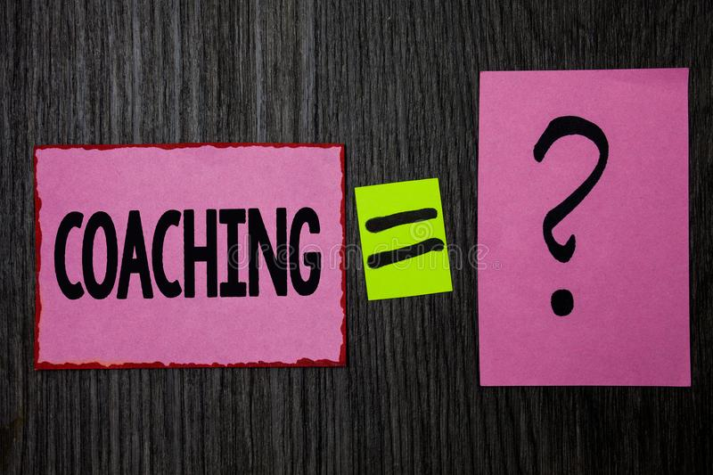 Writing note showing Coaching. Business photo showcasing Prepare Enlightened Cultivate Sharpening Encourage Strenghten Pink notes. Equal sign question mark stock image