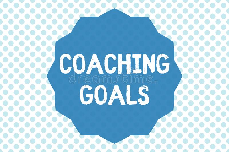 Writing note showing Coaching Goals. Business photo showcasing Empowers individuals Encourages them to take responsibility.  royalty free illustration