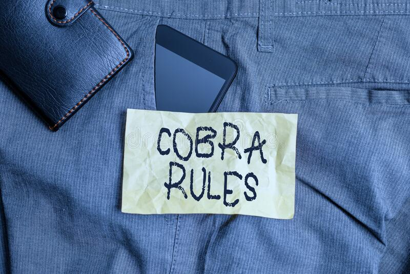Writing Note Showing Cobra Rules. Business Photo