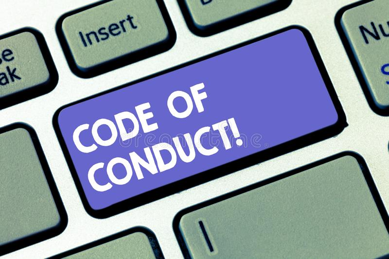 Writing note showing Code Of Conduct. Business photo showcasing Ethics rules moral codes ethical principles values. Respect Keyboard key Intention to create stock illustration