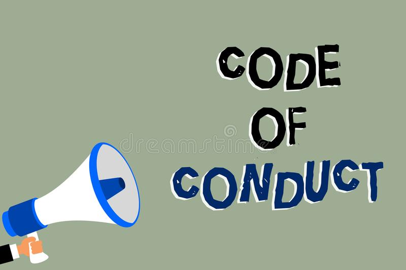 Writing note showing Code Of Conduct. Business photo showcasing Ethics rules moral codes ethical principles values respect Man hol. Ding megaphone loudspeaker stock illustration