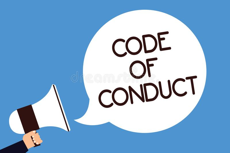 Writing note showing Code Of Conduct. Business photo showcasing Ethics rules moral codes ethical principles values respect Man hol. D megaphone loudspeaker vector illustration