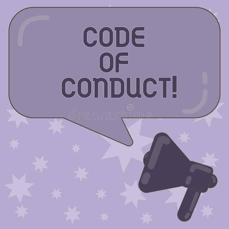 Writing note showing Code Of Conduct. Business photo showcasing Ethics rules moral codes ethical principles values. Respect Megaphone and Rectangular Color vector illustration
