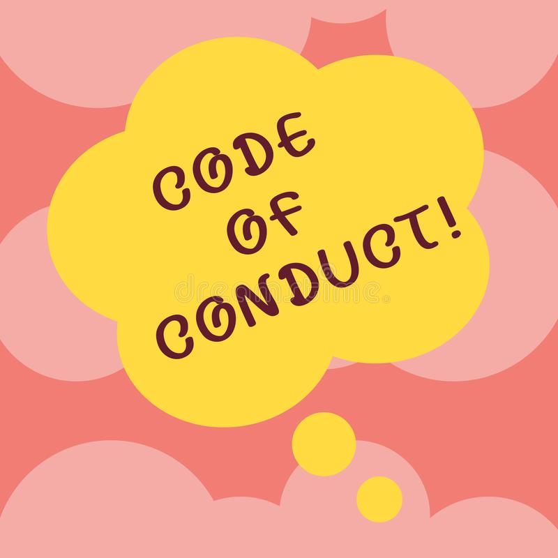 Writing note showing Code Of Conduct. Business photo showcasing Ethics rules moral codes ethical principles values. Respect Floral Shape Thought Speech Bubble vector illustration
