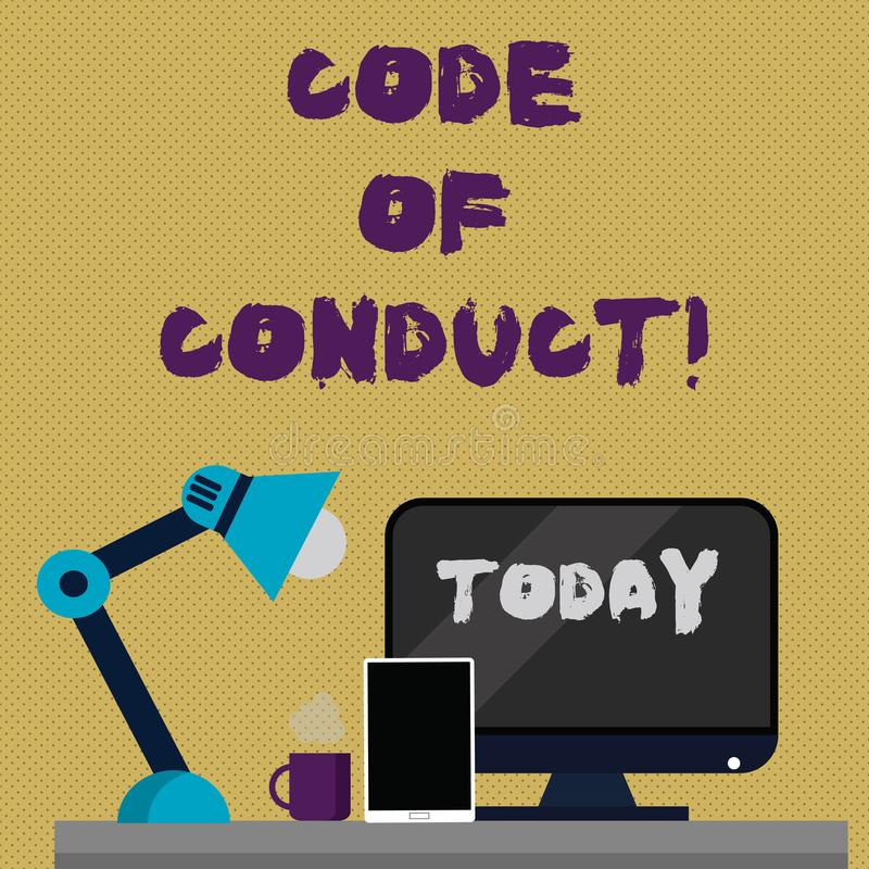 Writing note showing Code Of Conduct. Business photo showcasing Follow principles and standards for business integrity. Writing note showing Code Of Conduct stock illustration