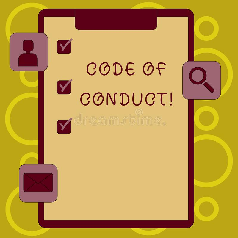 Writing note showing Code Of Conduct. Business photo showcasing Follow principles and standards for business integrity. Writing note showing Code Of Conduct vector illustration