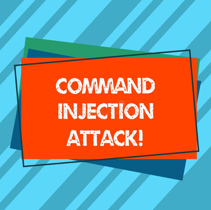 Writing note showing Comanalysisd Injection Attack. Business photo showcasing execution of arbitrary comanalysisds on the host OS. Pile of Blank Rectangular royalty free stock photography