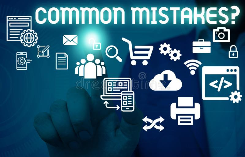 Writing note showing Common Mistakes Question. Business photo showcasing repeat act or judgement misguided making. Writing note showing Common Mistakes Question royalty free stock photography