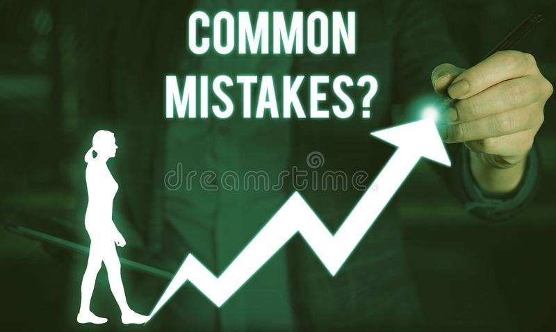 Writing note showing Common Mistakes question. Business photo showcasing repeat act or judgement misguided or wrong. Writing note showing Common Mistakes royalty free stock photo