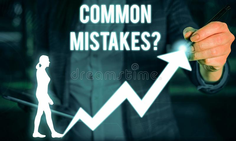 Writing note showing Common Mistakes question. Business photo showcasing repeat act or judgement misguided or wrong. Writing note showing Common Mistakes royalty free stock images