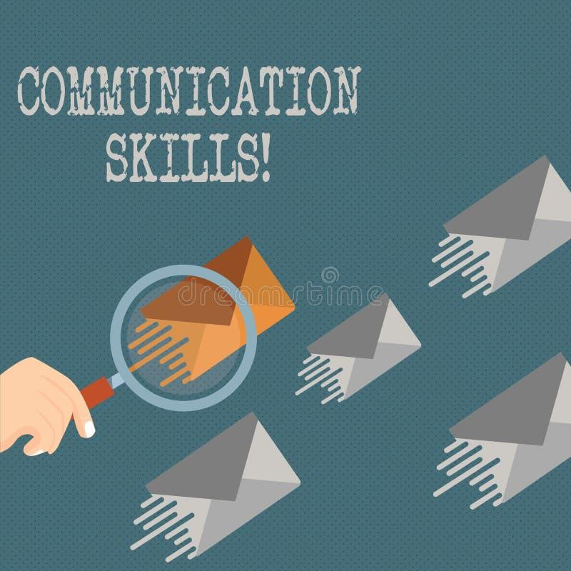 Writing note showing Communication Skills. Business photo showcasing ability to convey information to another. Writing note showing Communication Skills stock illustration
