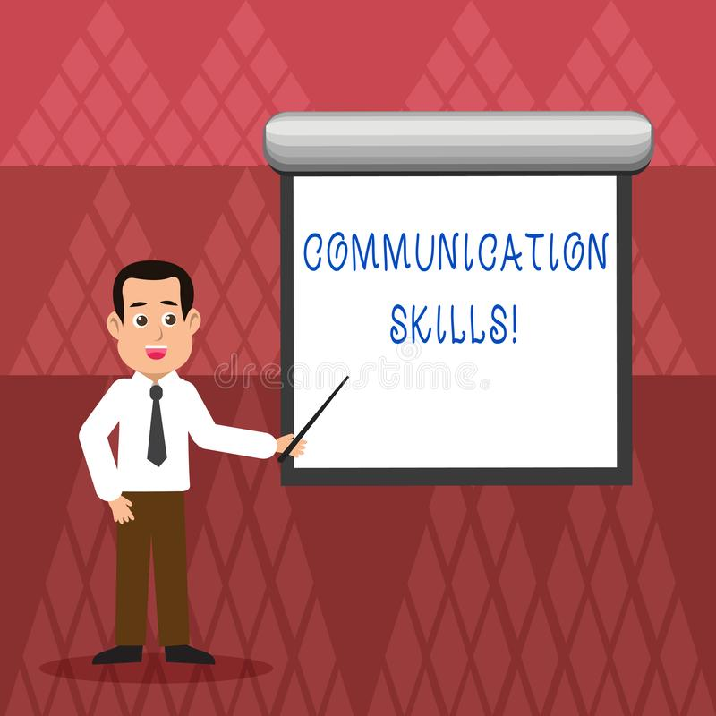 Writing note showing Communication Skills. Business photo showcasing ability to convey information to another. Writing note showing Communication Skills vector illustration