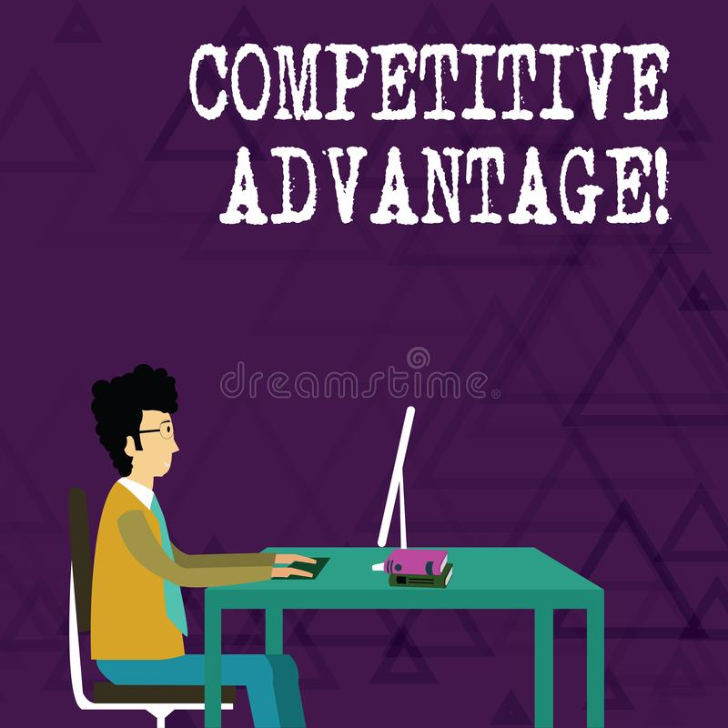 Writing note showing Competitive Advantage. Business photo showcasing owning quality that will assure you leading in. Writing note showing Competitive Advantage royalty free illustration