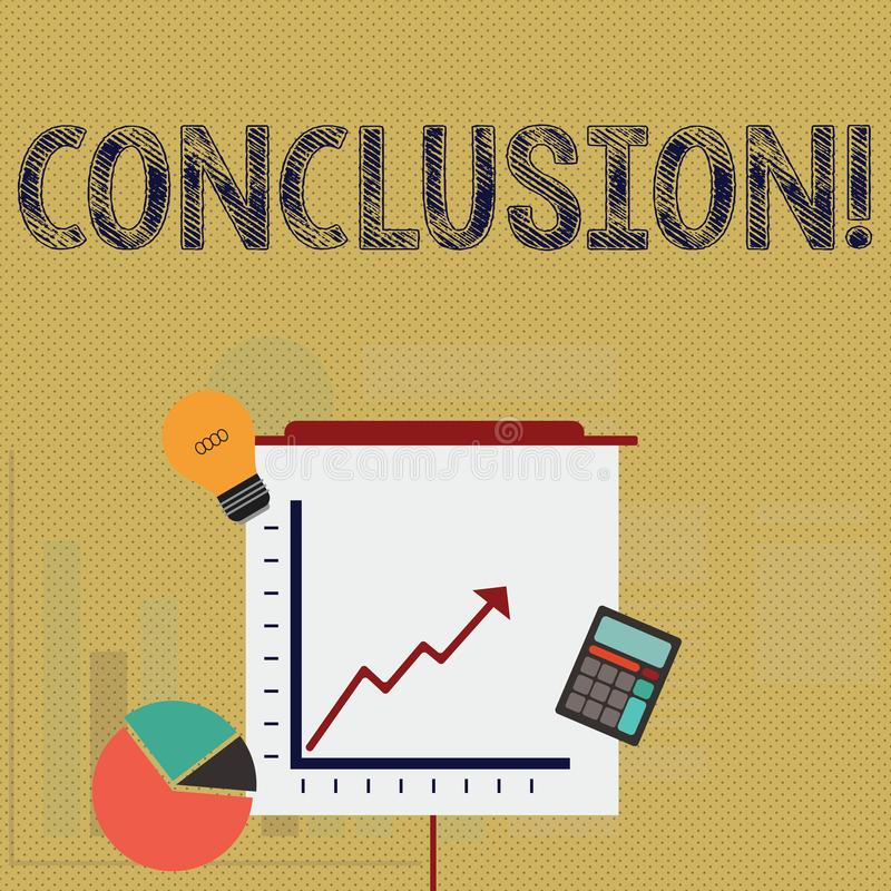 Writing note showing Conclusion. Business photo showcasing Results analysis Final decision End of an event or process. Writing note showing Conclusion. Business royalty free illustration