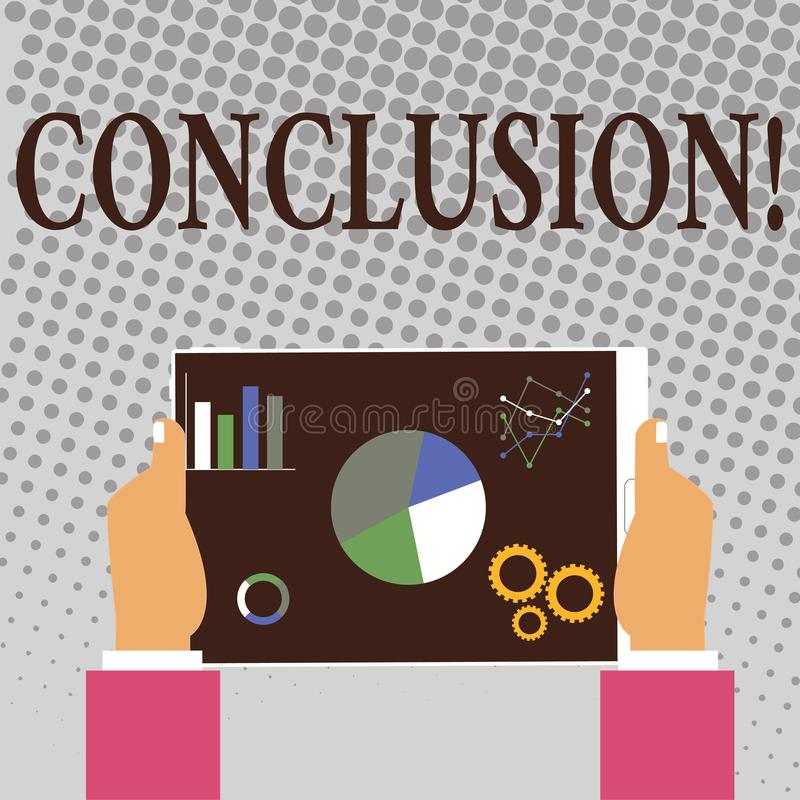 Writing note showing Conclusion. Business photo showcasing Results analysis Final decision End of an event or process. Writing note showing Conclusion. Business vector illustration