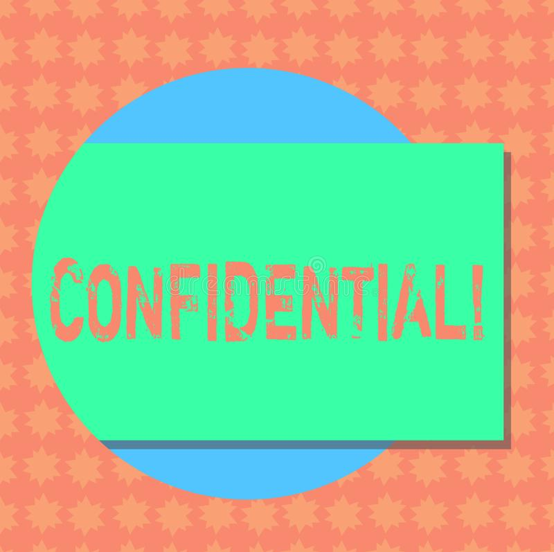 Writing note showing Confidential. Business photo showcasing Agreements between two parties are private and protected Rectangular. Color Shape with Shadow vector illustration