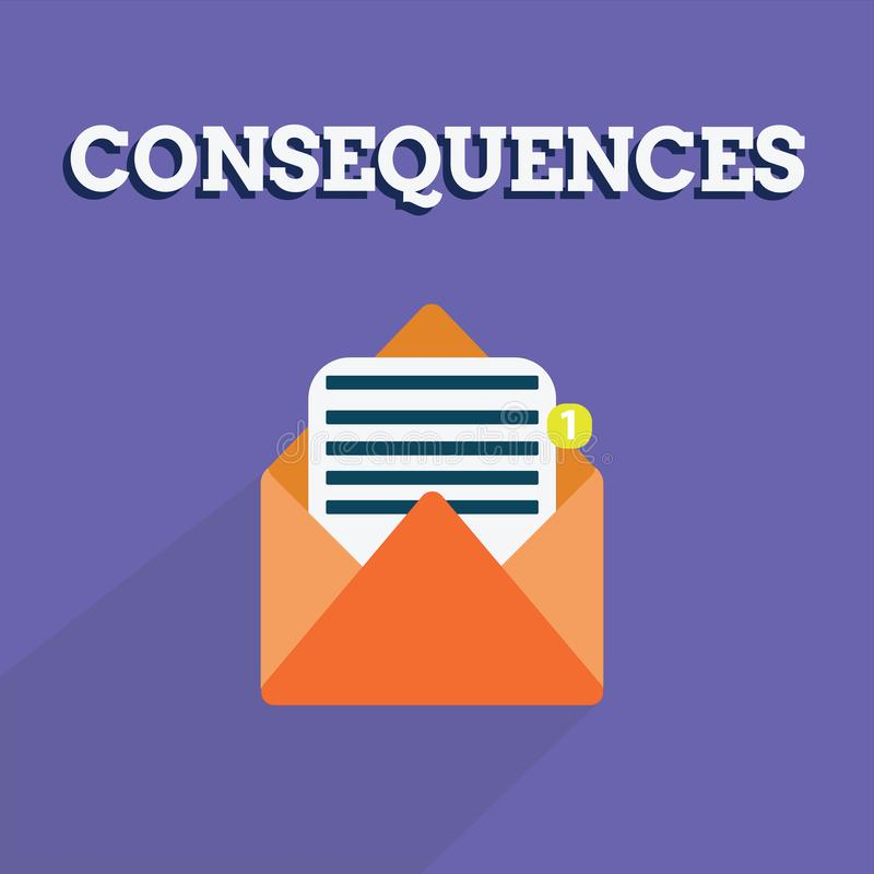 Writing note showing Consequences. Business photo showcasing Effect result or outcome of something occurring earlier.  royalty free illustration