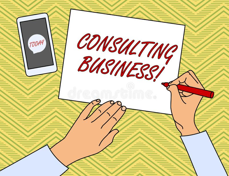 Writing note showing Consulting Business. Business photo showcasing Consultancy Firm Experts give Professional Advice. Writing note showing Consulting Business vector illustration